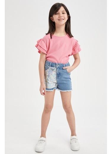 DeFacto Kız Çocuk Volanlı Kısa Kol T-shirt Pembe
